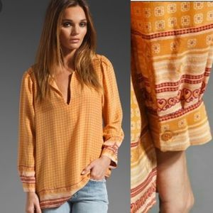 JOIE 100% silk ethic boho print blouse
